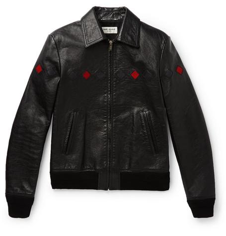 Saint Laurent - Slim-Fit Full-Grain Leather Bomber Jacket - Men - Black