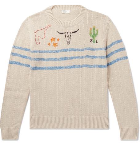 Saint Laurent - Slim-Fit Printed Cotton and Linen-Blend Sweater - Men - Off-white