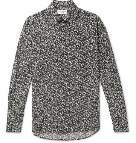 Saint Laurent - Slim-Fit Printed Silk Crepe De Chine Shirt - Men - Black