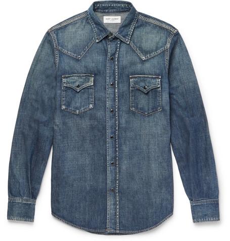 Saint Laurent - Slim-Fit Washed-Denim Western Shirt - Men - Indigo