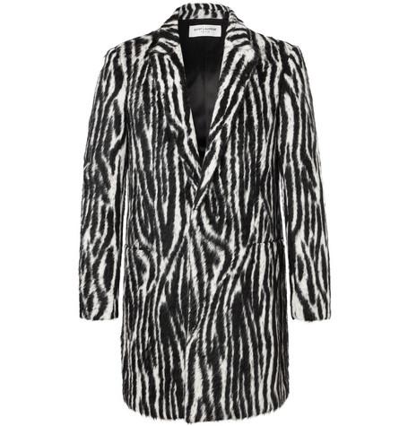 Saint Laurent - Slim-Fit Zebra-Print Llama Hair-Blend Coat - Men - Black