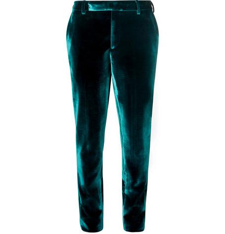 Saint Laurent - Turquoise Slim-Fit Velvet Suit Trousers - Men - Turquoise