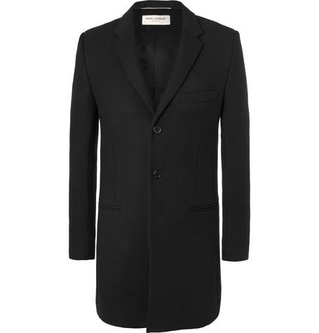 Saint Laurent - Wool-Twill Chesterfield Coat - Men - Black