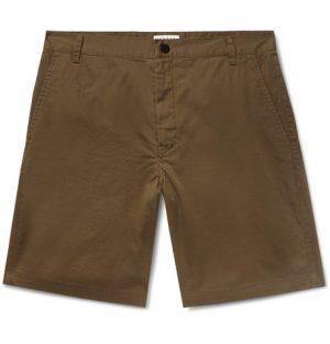 Sandro - Slim-Fit Stretch Cotton-Twill Shorts - Men - Army green