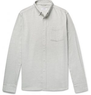 Saturdays NYC - Button-Down Collar Mélange Cotton-Flannel Shirt - Men - Light green
