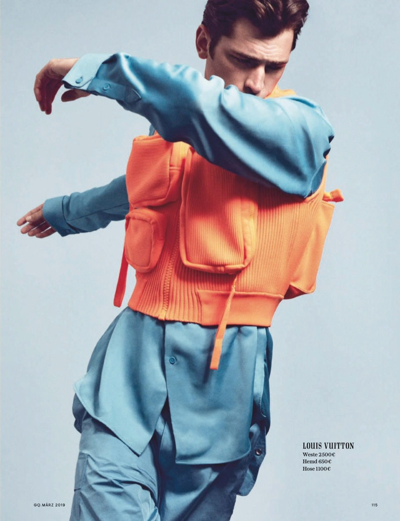 Sean O'Pry Makes a Colorful Tailored Statement for GQ Germany