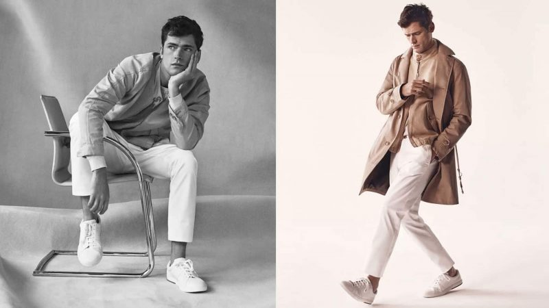 Embracing neutrals, Sean O'Pry dons sleek looks from Massimo Dutti.