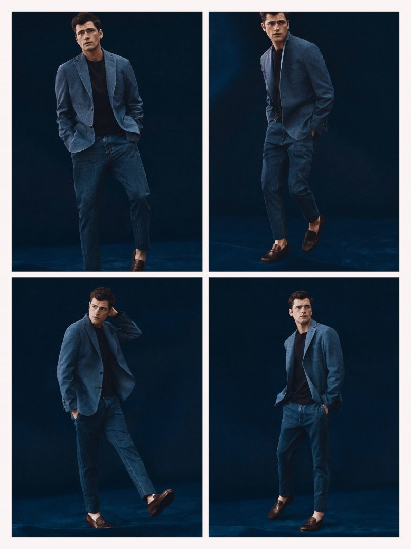 American model Sean O'Pry dons shades of blue for Massimo Dutti.