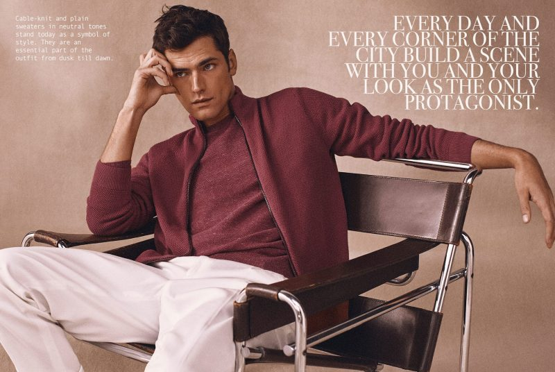 A striking vision, Sean O'Pry wears a monochromatic number from Massimo Dutti.