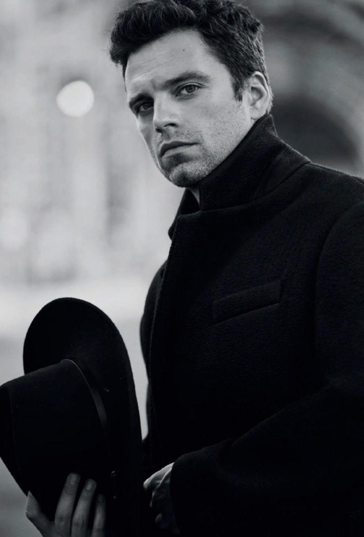 Sebastian Stan dons a Roberto Cavalli coat with a Jessie Western hat.