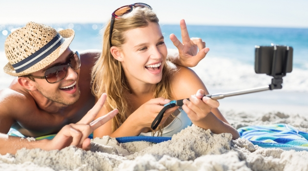 Selfie Stick Couple on Beach