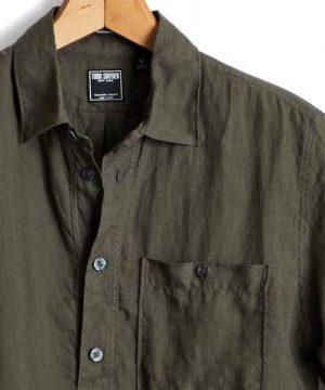 Short Sleeve Linen Popover Shirt in Olive