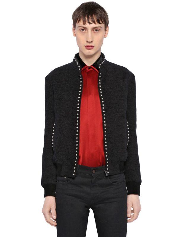 Silk Velvet Teddy Jacket W/ Stud Trim