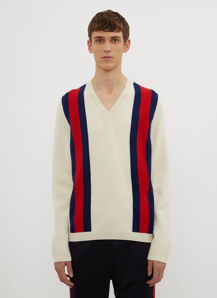 Striped V-Neck Knit Sweater