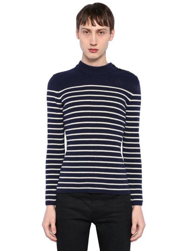 Striped Wool Rib Knit Sweater
