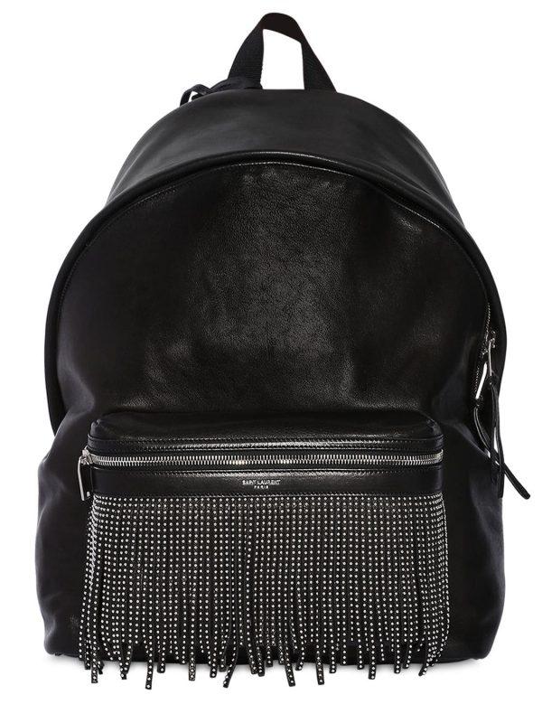 Stud Fringe Leather Backpack W/