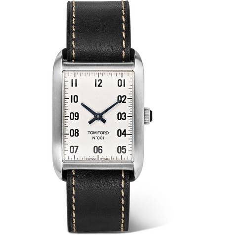 TOM FORD - 001 Stainless Steel and Leather Watch - Men - Black