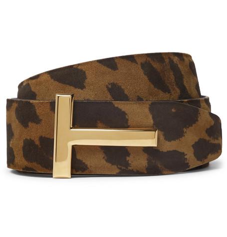 TOM FORD - 4cm Reversible Leopard-Print Nubuck Belt - Men - Brown