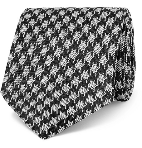 TOM FORD - 8cm Dogtooth Silk and Linen-Blend Tie - Men - Black