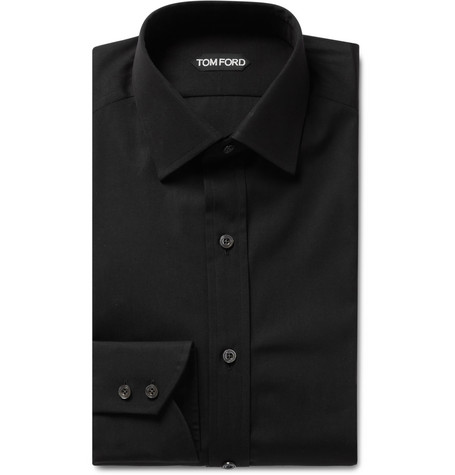 TOM FORD - Black Slim-Fit Cotton-Poplin Shirt - Men - Black