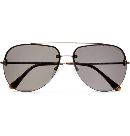 TOM FORD - Brad Aviator-Style Silver-Tone Sunglasses - Men - Silver