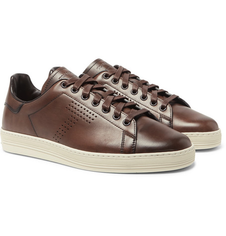 TOM FORD - Burnished-Leather Sneakers - Men - Brown