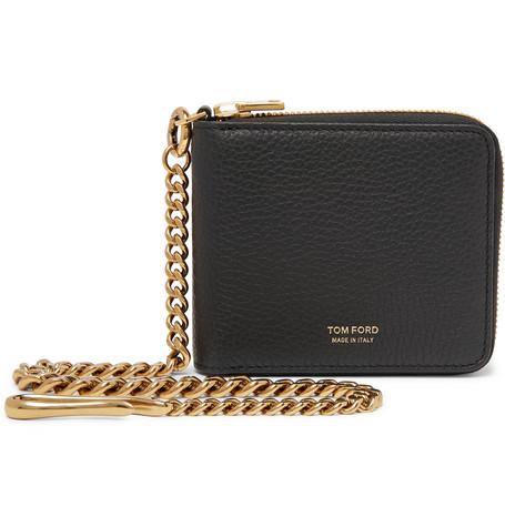 TOM FORD - Chain-Embellished Full-Grain Leather Zip-Around Wallet - Men - Black