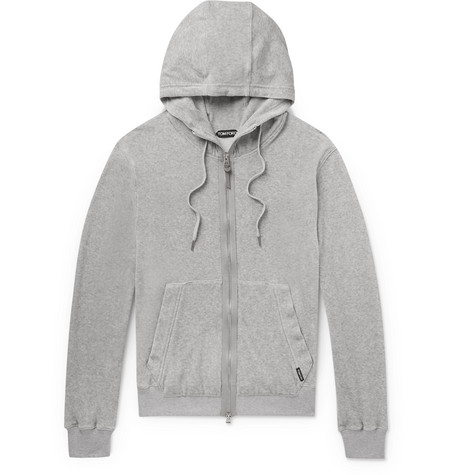TOM FORD - Cotton-Blend Velour Zip-Up Hoodie - Men - Gray