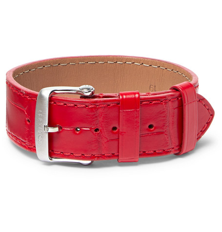 TOM FORD - Croc-Effect Leather Watch Strap - Men - Red