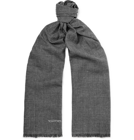 TOM FORD - Fringed Prince of Wales Checked Mohair, Wool, Linen and Silk-Blend Scarf - Men - Gray
