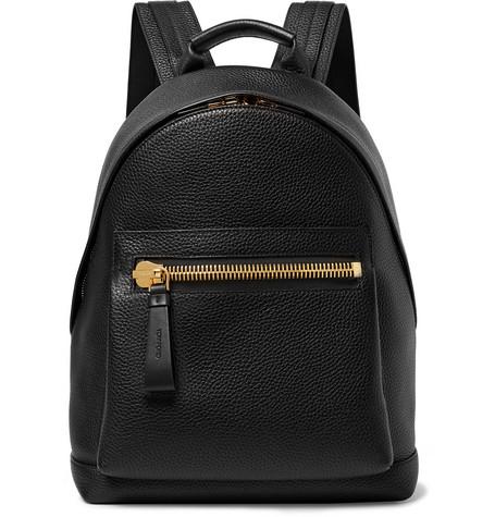 TOM FORD - Full-Grain Leather Backpack - Men - Black