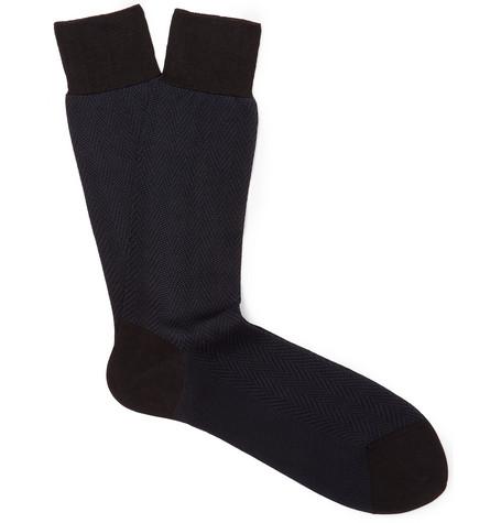 TOM FORD - Herringbone Cotton Socks - Men - Midnight blue