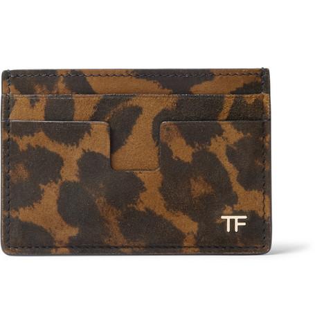 TOM FORD - Leopard-Print Nubuck Cardholder - Men - Green