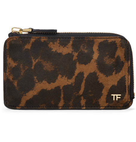 TOM FORD - Leopard-Print Nubuck Zip-Around Cardholder - Men - Brown