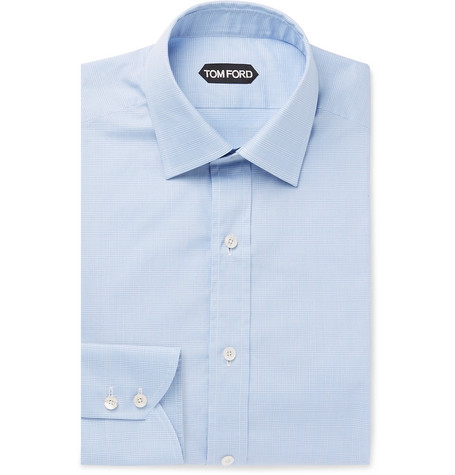 TOM FORD - Light-Blue Slim-Fit Prince of Wales Checked Cotton Shirt - Men - Blue