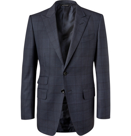 TOM FORD - Navy O'Connor Slim-Fit Prince of Wales Checked Wool Suit Jacket - Men - Midnight blue