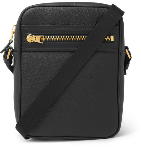 TOM FORD - North South Full-Grain Leather Messenger Bag - Men - Black