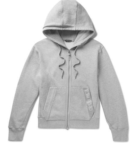 TOM FORD - Oversized Logo-Trimmed Mélange Fleece-Back Cotton-Jersey Zip-Up Hoodie - Men - Gray