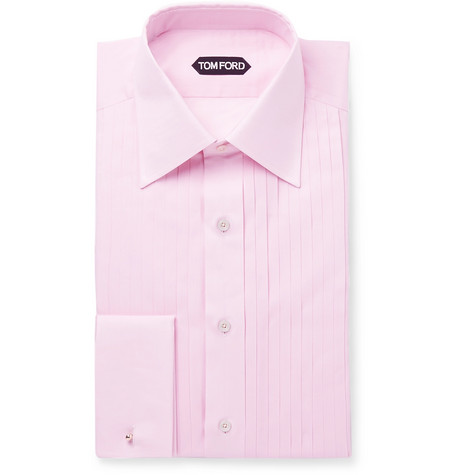 TOM FORD - Pink Slim-Fit Bib-Front Cotton-Voile Shirt - Men - Pink