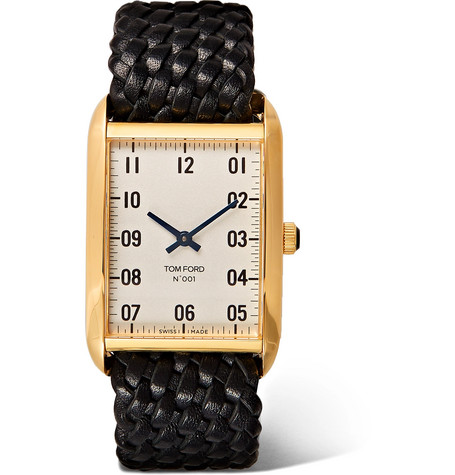 TOM FORD - Quartz 18-Karat Gold and Woven Leather Watch - Men - White