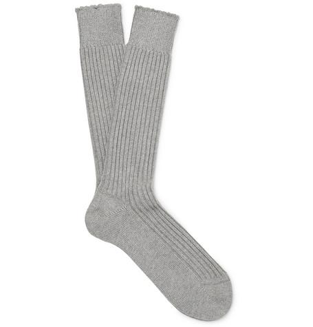 TOM FORD - Ribbed Cotton Socks - Men - Light gray