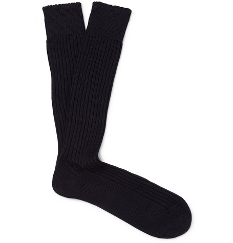 TOM FORD - Ribbed Cotton Socks - Men - Midnight blue