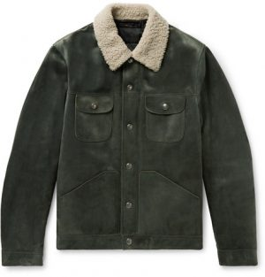TOM FORD - Shearling-Trimmed Suede Down Trucker Jacket - Men - Gray green