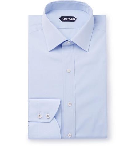 TOM FORD - Sky-Blue Slim-Fit Cotton-Poplin Shirt - Men - Blue