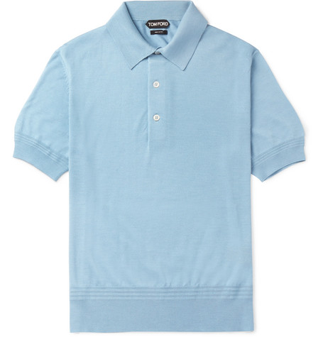 TOM FORD - Slim-Fit Cashmere and Silk-Blend Piqué Polo Shirt - Men - Blue