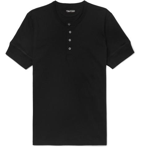 TOM FORD - Slim-Fit Cotton-Jersey Henley T-Shirt - Men - Black