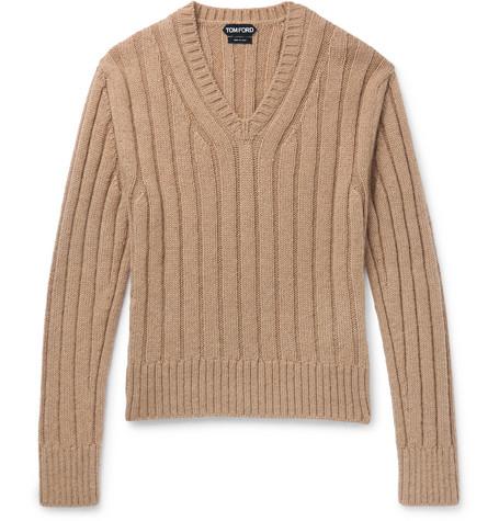 TOM FORD - Slim-Fit Ribbed Wool-Blend Sweater - Men - Tan