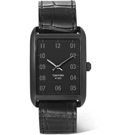 TOM FORD - Stainless Steel and Alligator Watch - Men - Black