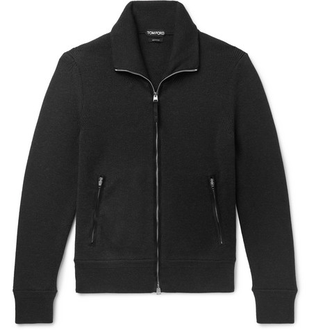 TOM FORD - Suede-Trimmed Ribbed Wool Zip-Up Cardigan - Men - Black