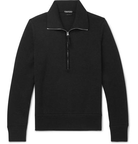 TOM FORD - Suede-Trimmed Wool Half-Zip Sweater - Men - Black
